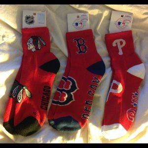 Boston & Phillies MLB & Chicago NHL Quarter Socks